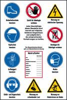Baustellenschild, Hinweise gem. ISO 7010 + Notruftafel, Alu-Verbund