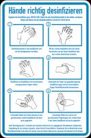 Hinweisschild, Hände richtig desinfizieren, 300 x 200 mm - DIN EN 1500