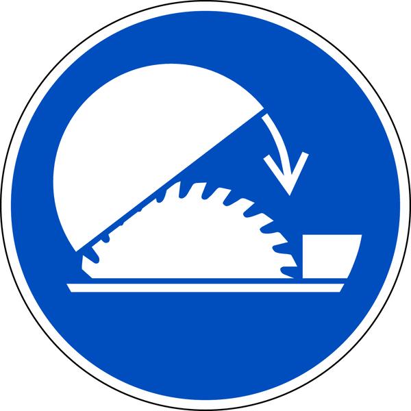 Gebotszeichen, Schutzhaube Tischkreissäge benutzen M031 - DIN EN ISO 7010