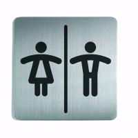 WC-Piktogramm, Damen / Herren, quadratisch, Edelstahl