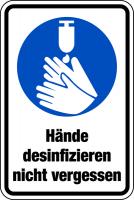 Gebotszeichen, Kombischild, Hände desinfizieren nicht vergessen, Folie, 150 x 100 mm