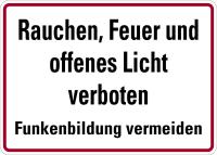 Hinweisschild, Rauchen, Feuer und offenes Licht verboten