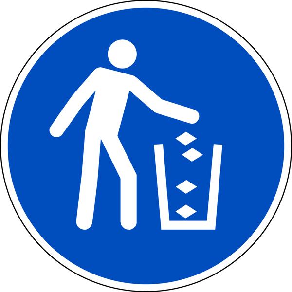 Gebotszeichen, Abfallbehälter benutzen M030 - DIN EN ISO 7010