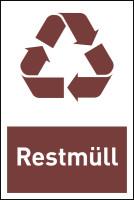 Design-Recyclingschild: Restmüll, Folie selbstklebend, 150 x 100 mm