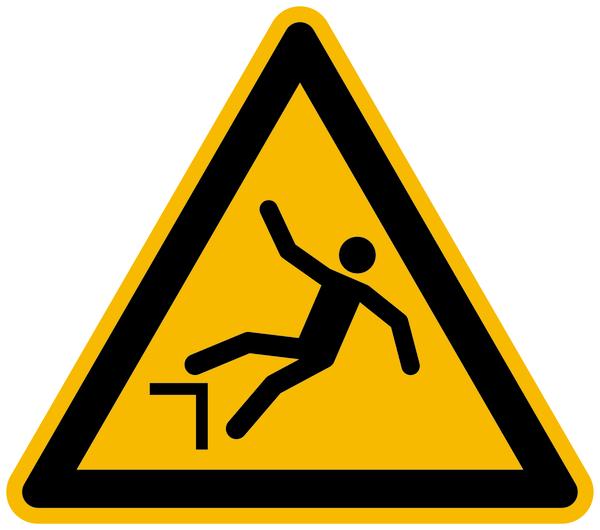 Warnzeichen, Warnung vor Absturzgefahr W008 - ASR A1.3 (DIN EN ISO 7010)
