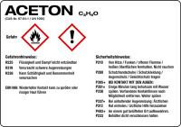 Gefahrstoffetikett, Aceton, Folie, mit H- und P-Sätzen /GHS/CLP/GefStoffV