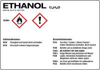Gefahrstoffetikett, Ethanol, Folie, mit H- und P-Sätzen /GHS/CLP/GefStoffV