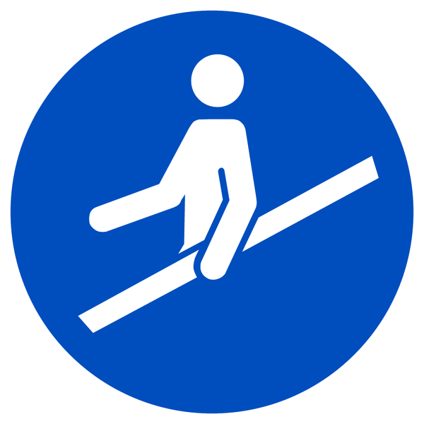Gebotszeichen, Handlauf benutzen M012 - ASR A1.3 (DIN EN ISO 7010)