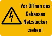 Warnschild, Netzstecker ziehen!, Folie - ISO 7010