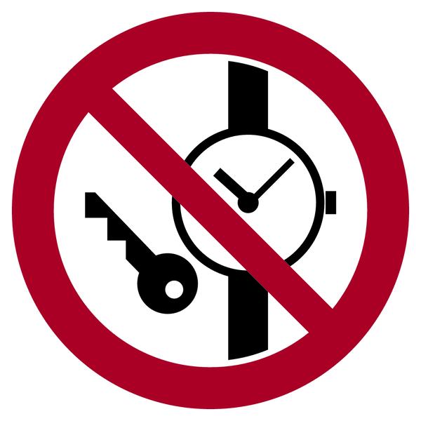 Verbotszeichen, Mitführen von Metallteilen oder Uhren verboten - ASR A1.3 (ISO 7010) / DIN 4844