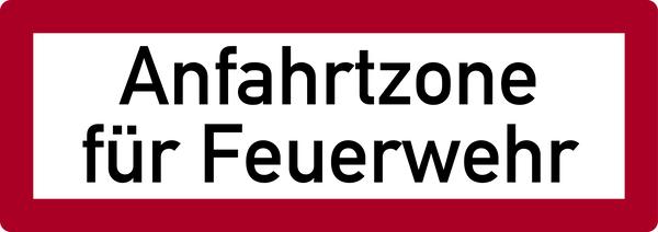 Brandschutzzeichen, Anfahrtzone für Feuerwehr - DIN 4066