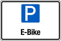 Parkplatzschild, E-Bike, 200 x 300 mm, Aluverbund