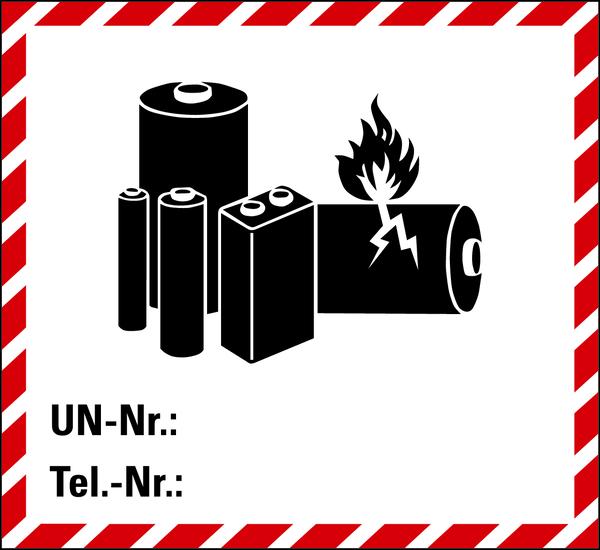 Gefahrgutaufkleber für den Transport von Lithiumbatterien gem. ADR, SV 188