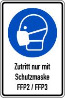 Kombischild, Zutritt nur mit Schutzmaske FFP2/FFP3, 300 x 200 mm