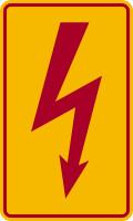 Hinweisschild, Blitzpfeil VDE 0105 C, roter Rand