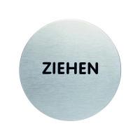 Türschild, Ziehen, Edelstahl, Ø 65 mm