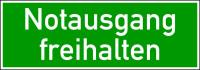 Rettungszeichen, Wortschild Notausgang freihalten, 105 x 300 mm, praxisbewährt