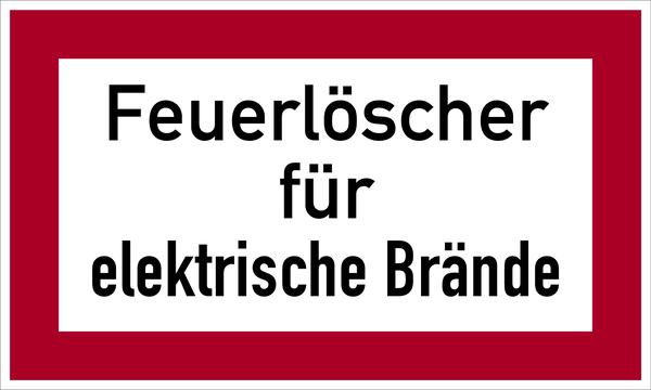 Brandschutzzeichen, Feuerlöscher für elektrische Brände - angelehnt an DIN 4066