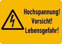Warnschild, Hochspannung! Vorsicht! Lebensgefahr!, Folie  ISO 7010
