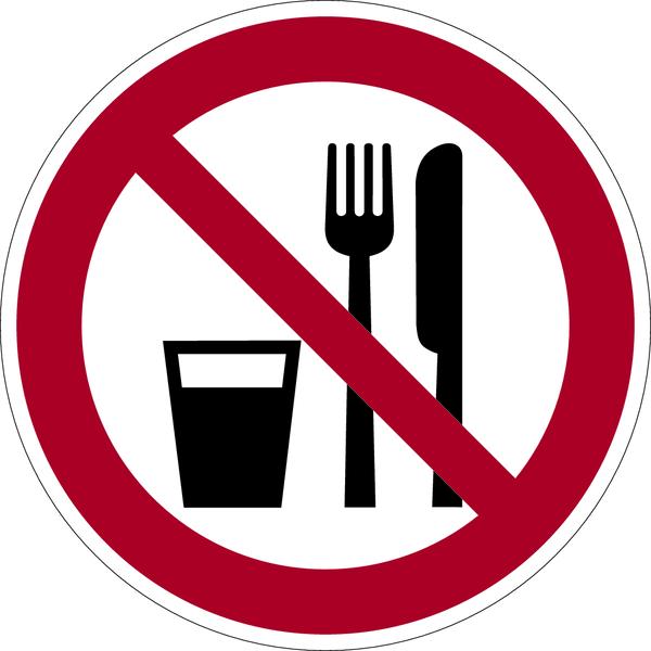 Verbotszeichen, Essen und Trinken verboten  D-P019 - DIN 4844