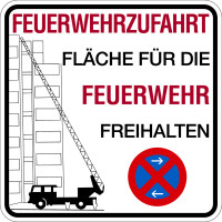 Brandschutzzeichen, Feuerwehrzufahrt Fläche freihalten
