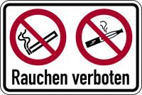 Verbotsschild, Kombischild, Zigarette/E-Zigarette, Rauchen verboten, praxisbewährt