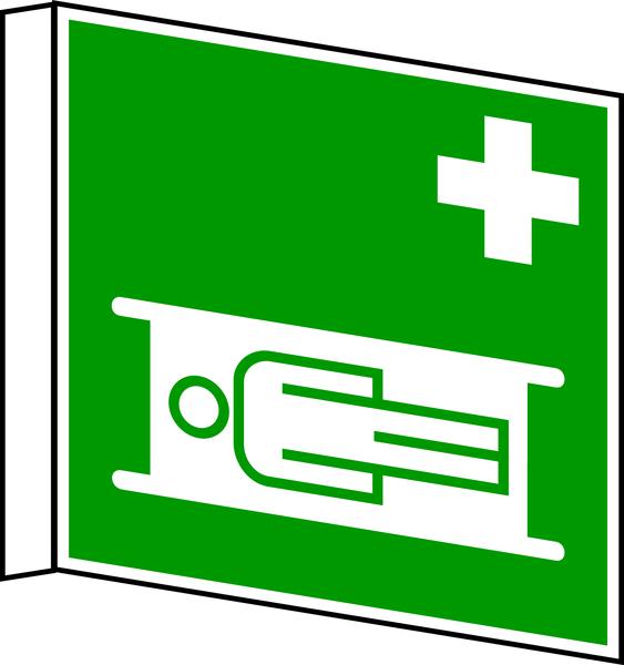 Rettungszeichen, Fahnen-/Nasenschild Krankentrage E 004 - DIN 4844
