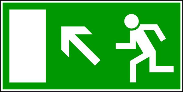 Rettungszeichen, Notausgang aufwärts links E 13 - BGV A8