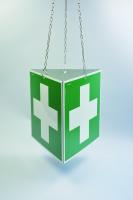 Rettungszeichen, Prismenschild Erste Hilfe zur Deckenmontage, E003 - ASR A1.3 (DIN EN ISO 7010)