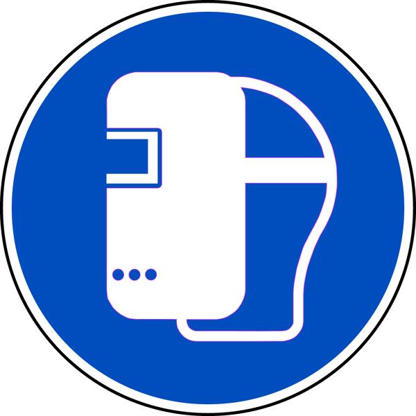 Gebotszeichen, Schweißmaske benutzen M019 - DIN EN ISO 7010