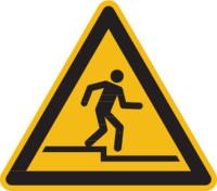 Warnschild, Warnung vor Abwärtsstufe W070 - ASR A1.3 (DIN EN ISO 7010)