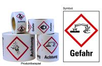 """Gefahrstoffkennzeichnung - Ätzwirkung (GHS05) & Signalwort """"Gefahr"""" - Rolle à 500 Stück"""