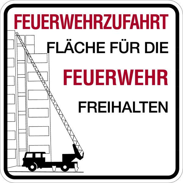 Brandschutzzeichen, Feuerwehrzufahrt ohne Halteverbotsz. mit Text nach Wunsch