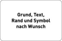 Hinweisschild, Aluminium: Rand geprägt - Farben, Text und Symbol nach Wunsch - Querformat