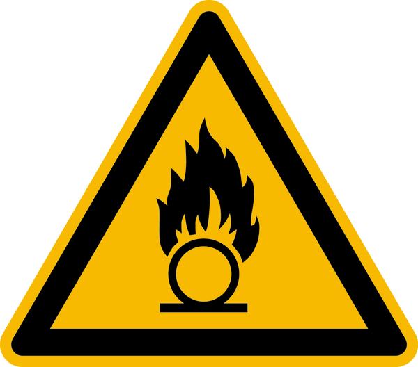 Warnzeichen, Warnung vor brandfördernden Stoffen W028 - ASR A1.3 (DIN EN ISO 7010)