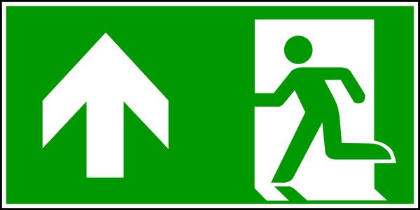 Rettungszeichen, Notausgang geradeaus - ASR A1.3 (DIN EN ISO 7010)