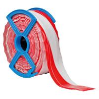 Fadenverstärktes Absperrband, rot/weiß schraffiert - VE = Rolle à 250 m