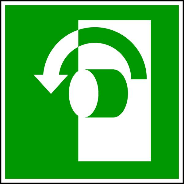 Rettungszeichen, Öffnung durch Linksdrehung E018 - ASR A1.3 (DIN EN ISO 7010)