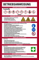 Aushang, Betriebsanweisung für Feststoffe - GHS/ISO 7010 Piktogramme
