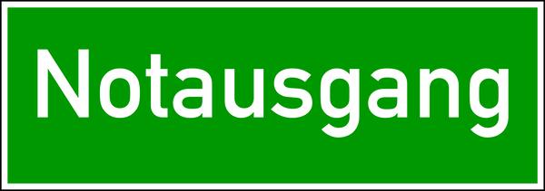 Rettungszeichen, Wortschild Notausgang