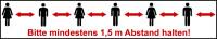 """Selbstklebendes Markierungsband, """"Bitte mindestens 1,5 m Abstand halten"""", Weiß, Rolle à 66 m"""
