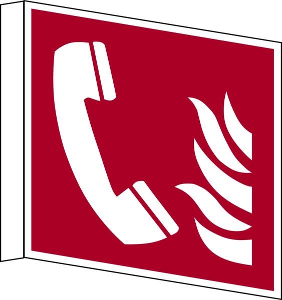 Brandschutzzeichen, Fahnen-/Nasenschild Brandmeldetelefon F006 -ASR A1.3 (DIN EN ISO 7010)