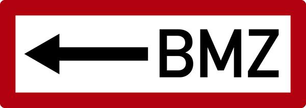 Brandschutzzeichen, BMZ (Brandmelderzentrale) mit Pfeil nach links - DIN 4066