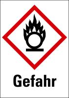 """Gefahrstoffkennzeichnung - Flamme über einem Kreis (GHS03) & Signalwort """"Gefahr"""""""