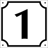 Hausnummer, Aluminium geprägt, (Nr. 1-9), 120 x 120 mm