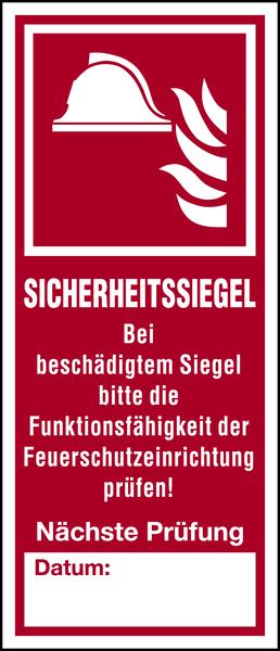 Brandschutzzeichen, Sicherheitssiegel für Feuerschutzeinrichtungen - 1 VE = Bogen à 5 Stk