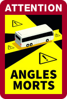 KFZ-Warnmarkierung, Angles Morts (Toter Winkel), für Busse, Folie selbstklebend, VE = 3 Stück