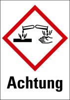 """Gefahrstoffkennzeichnung - Ätzwirkung (GHS05) & Signalwort """"Achtung"""""""