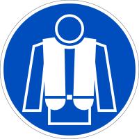 Gebotszeichen, Rettungsweste benutzen D-M015 - DIN 4844/BGV A8