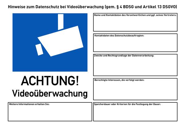 Hinweisschilder, Videoüberwachung